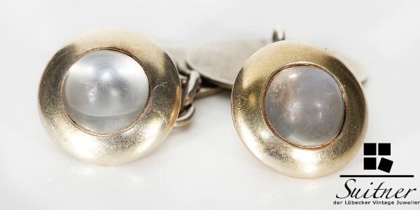 Art Deco Manschettenknöpfe mit Mondstein Gold und Silber new Cuff Links