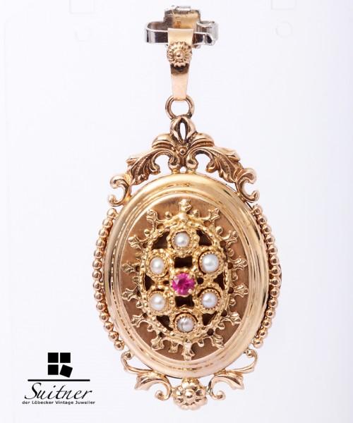Medaillon Anhänger Antik synth. Rubin Halbperlen 750 Gold