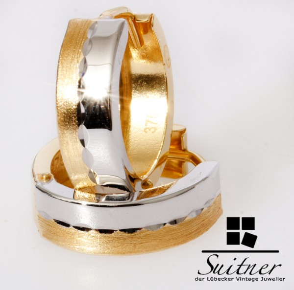 moderne Amor Creolen mattiert glänzend 375 Gold - poliert Ohrringe