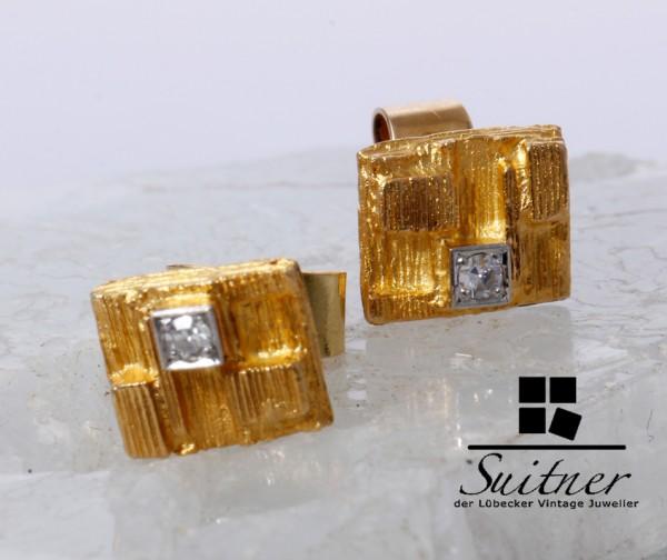 Lapponia Ohrstecker Thai Diamant aus 750 Gold Nugget Weckström