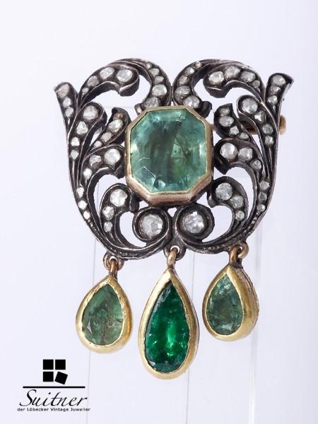XL Brosche Smaragd Diamanten 750 Gold um 1850 museal viktorianisch antik