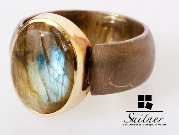 Labradorit Ring in Handarbeit 585 Gold und 925 Silber Gr. 55 Unikat