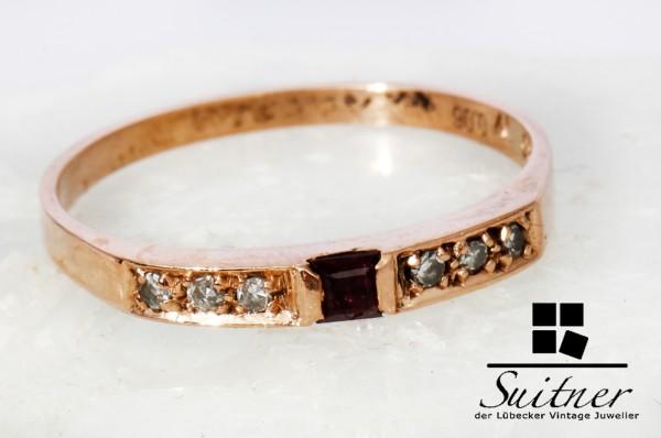 antiker Bandring mit Rubin und Diamanten 585 Rotgold Gr. 54 Gold 14k