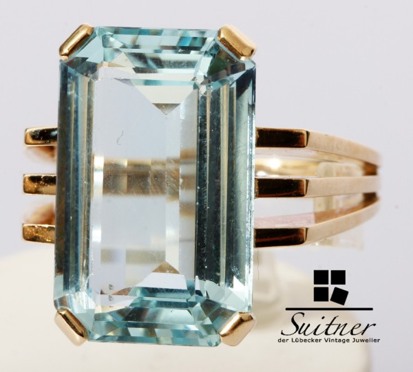 9,50ct. moderner Aquamarin Ring 585 Gold Gr. 57 Stil Art Deco Emerald