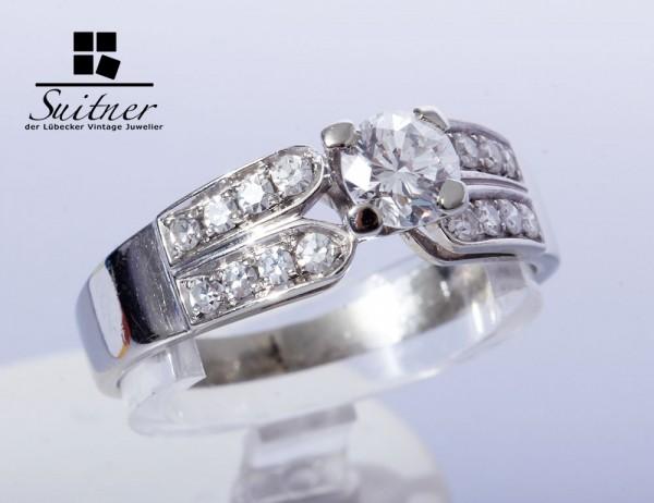 klassischer Verlobungsring Brillant Ring 0,47ct 750 Weißgold Gr. 55 TW VVS