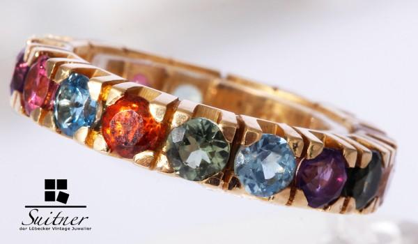 XL Edelstein Memory Ring 750 Gold Turmalin Regenbogen Amethyst Citrin Blautopas