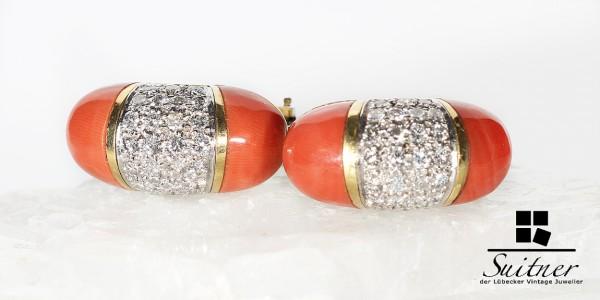 luxuriöse Ohrstecker mit Brillanten und Koralle massive Qualität 750 Gold Lachs Farbe
