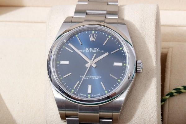Rolex Oyster 114300 neuwertig Fullset Blue / Green Traum Uhr