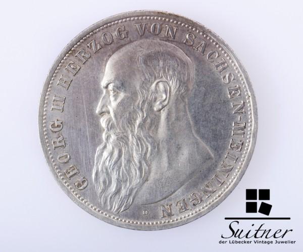 3 Mark Sachsen - Meiningen 1913 D VZ Georg II - selten