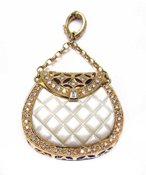 Handtasche aus 750 Gold mit Brillanten