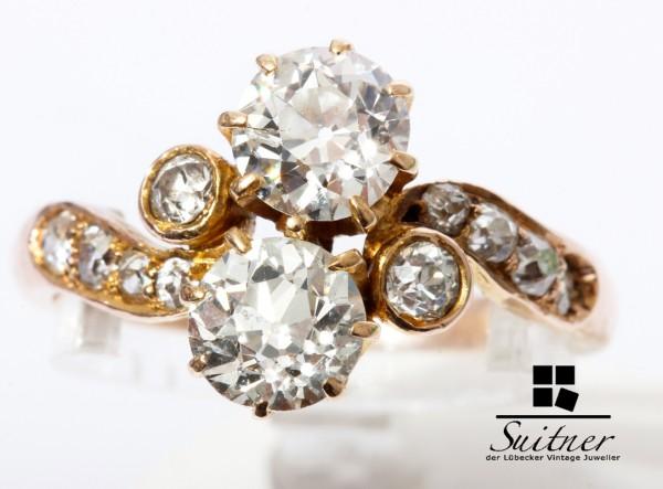 antiker Jugendstil TOI-ET-MOI Ring mit 1,74ct. Diamant 585 Gold Gr 55