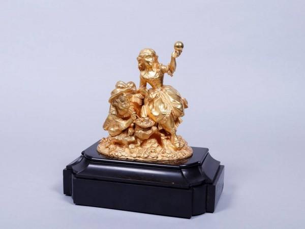 antike Bronze Frankreich, 19.Jh., spielendes Rokoko Kinder paar selten