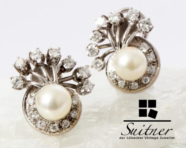 florale Perlen Clips mit Brillantbesatz aus 750 Weißgold Art Deco