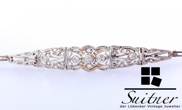 zierliches Art Deko Armband Diamanten zus. ca. 0,15 ct 750 Gold Platinauflage