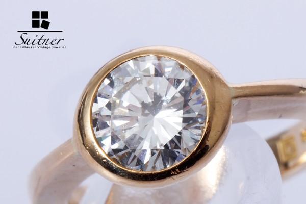 Solitär Ring 1 Brillant ca. 1,70 ct feines Weiß / VVS 750 Gold Gr. 53,5 - 54