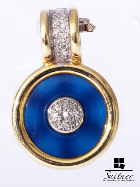 Prachtvoller Anhänger / Perlen Clip aus 585 Gold Pearl Pendant