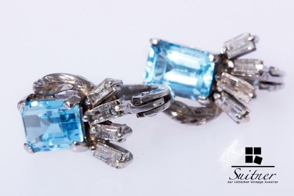 Ohrstecker mit Blautopas und Diamantbaguettes 585 Weißgold antik Art Deko