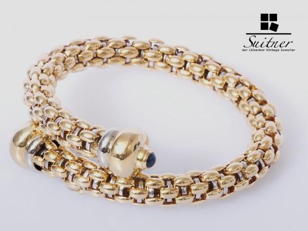 Fope Flex Armband Gold 750 Saphire Diva ? XXL 75 gr.