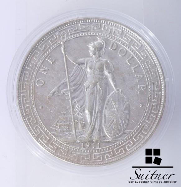 selten Großbritannien 1911 Silber Handelsdollar VZ Dollar Britannia