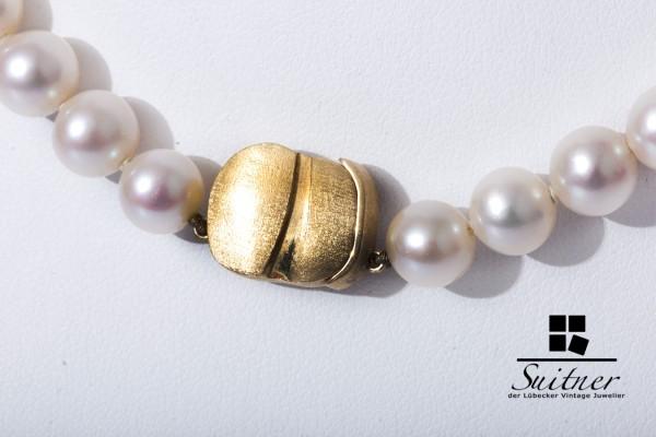 klassische Perlenkette ZuchtPerle 750 Gold - Schließe 7,7mm Luxus