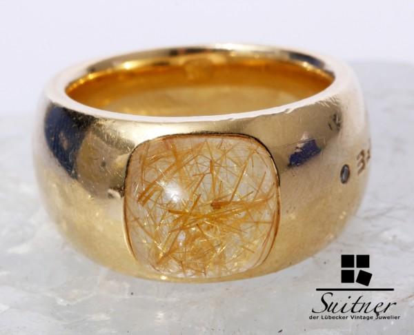 Wempe Ring 750 Gold Rutil Quarz Cabochon Brillant Gr. 51 selten Gelb