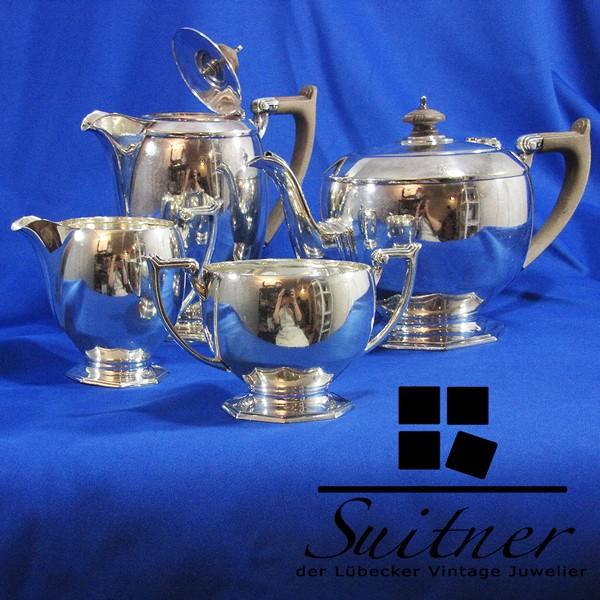 Tee- und Kaffeekanne Zucker- und Milchtopf Art Deko Sheffield Frank Cobb um 1920 plated