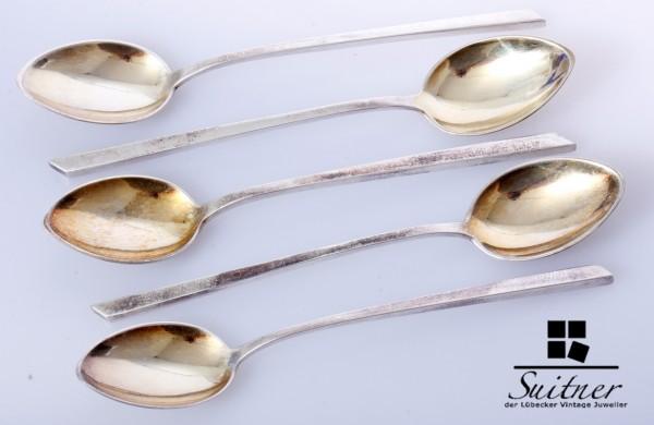 5 schöne, modernistische Mokkalöffel aus 800er Silber