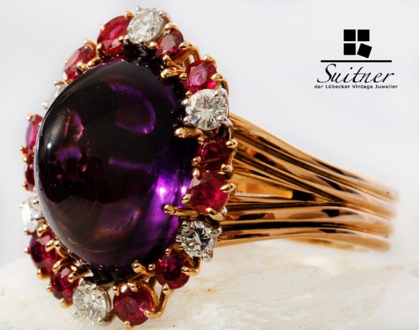 Juwelier WILM Ring mit Amethyst Rubin Brillant 750 Roségold Gr. 54,5 Gold Hamburg