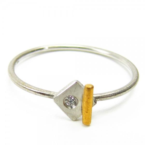 Platin Gold Ring mit Brillant 950 Platin 750 Gold Gr. 50 lupenrein Gr. 50