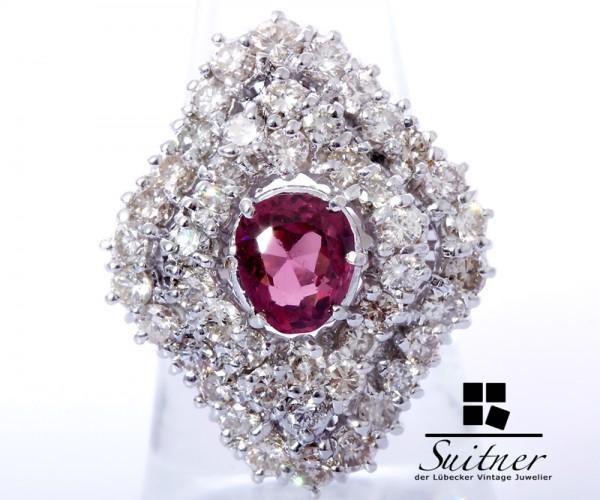 Luxus pur - 6,08ct. Brillant und Hot Pink Turmalin Ring 750 Weißgold Gr. 55
