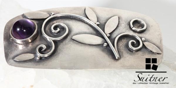 große Brosche Design mit Amethyst aus Silber wohl Dänemark Jugendstil floral