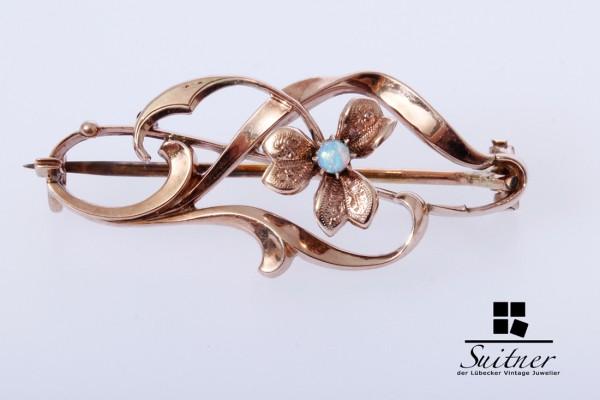 feine antike Brosche Jugendstil aus Gold mit Opal