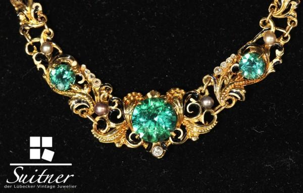 Turmalin Emaille Collier Juwelierskunst von Robert Merath 585 Gold Vintage