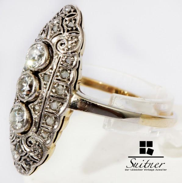 antiker Schiffchenring Jugendstil 750 Gold Diamanten Gr. 57 Navette Ring Nouveau