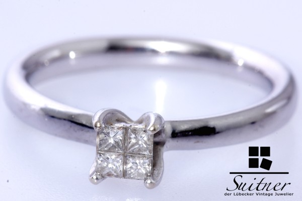 Verlobungsring Diamant Ring Princess Cut 585 Weißgold Gr. 57,5