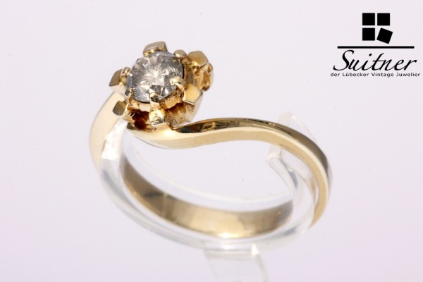 klassischer Ring Brillant ca 0,45ct aus 585 Gold Gr 57 Verlobung