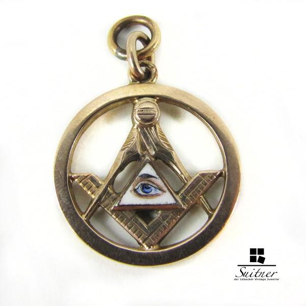 Anhänger Gold mit Emaille Freimaurer Freemason Mason