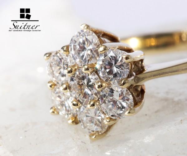 wertvoller Ring mit 7 Brillanten zus. 1,04ct., 585 Gold Gr. 56 vvsi
