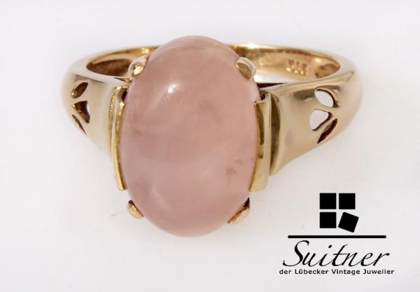 moderner Rosenquarz Ring 585 Gold Gr. 56 Rosa Pink XL Stein