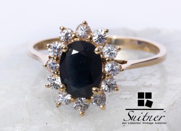 Saphir Ring mit Brillant geschliffenen Zirkonia Besatz aus 585 Gold Gr. 58