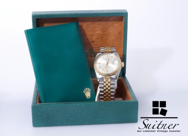 seltene Rolex Datejust Ref 1601 Stahl / Gold mit Box und Kaufbeleg 1977