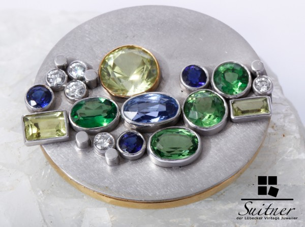 Luxus Saphir Brillant Brosche / Anhänger aus 750 Gold Gelb Blau Grün