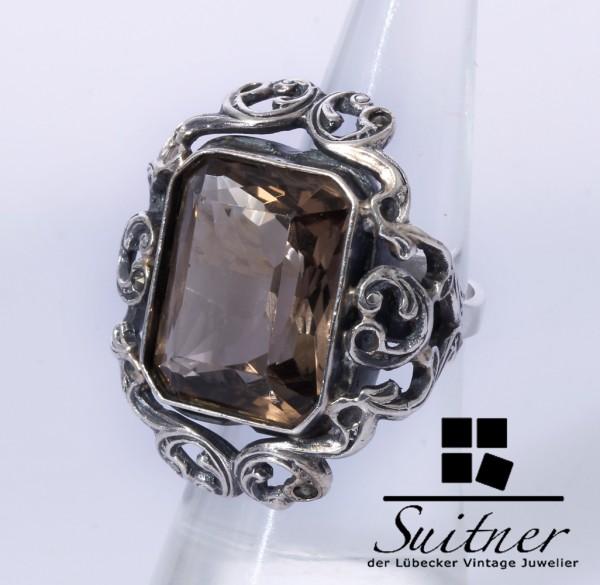 Rauchquarz Ring im Stile des Barocks 925 Silber Größe 54