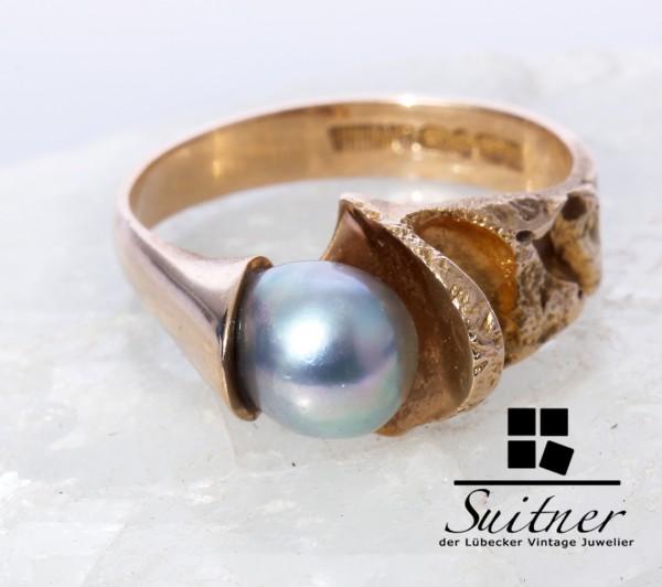 Lapponia Ring mit Tahiti Perle 585 Gold Größe 58 Weckström