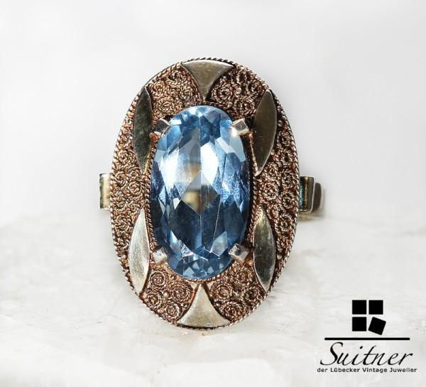 Antiker Art Deco Silber Ring Theodor Fahrner TF mit Blautopas Silber