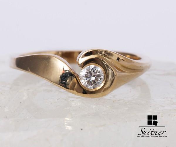 Moderner Brillant Ring 585 Gold 0,15 ct. Gr. 54