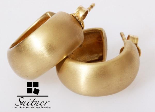große XL Ohrstecker Halbcreolen aus Gold mattiert Oversize