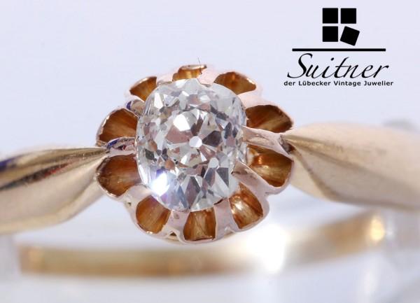 antiker Diamant Ring 585 Gold Gr. 56,5 ovaler Altschliff - wunderschön
