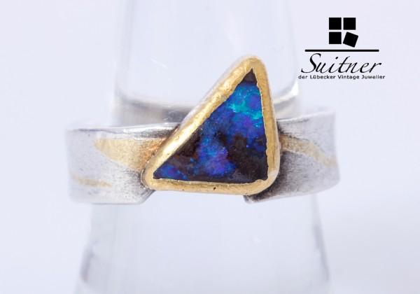 Unikat Design Ring aus 750 Gold und Silber Boulder Opal Blau Gr. 55