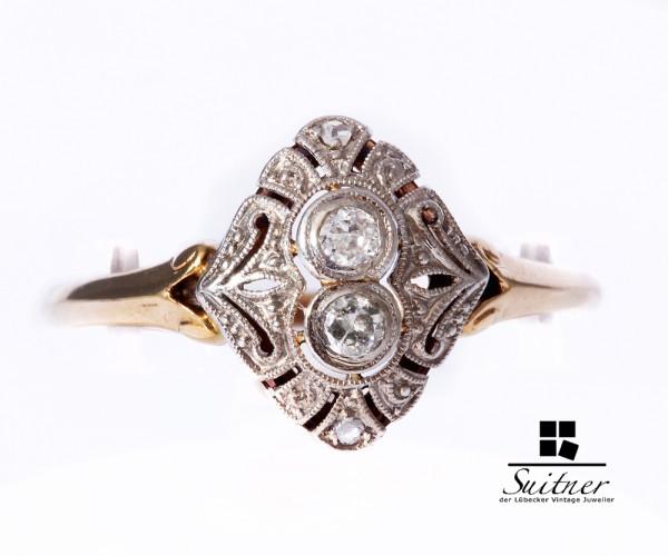 Art Deco Ring aus Gold Diamanten 585 Gr. 57